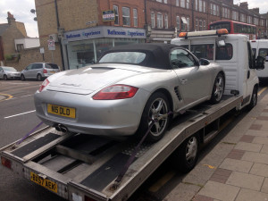 Sports and lowered cars transport in London